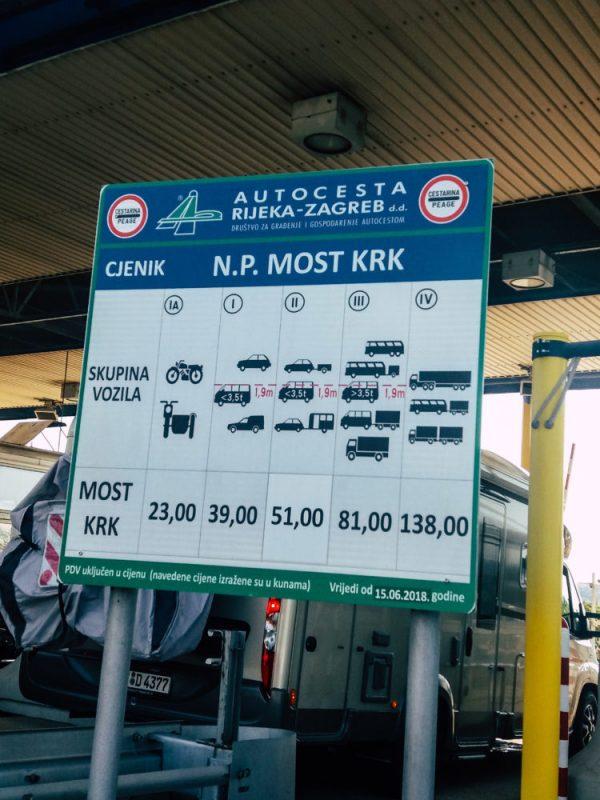 Krk bridge entrance prices.