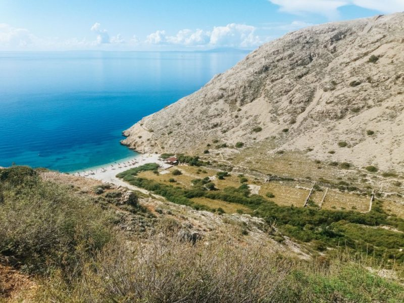 Oprna beach in Stara Baška on the Krk island - A view from the approach road from Punat.