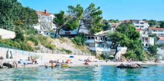 The main beach in Stara Baška located just by the port.