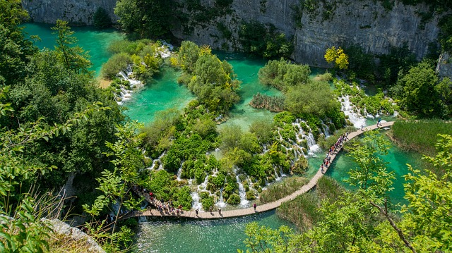 A view of the route of visiting the park of Plitvice Lakes - It's worth having a park map with you to find the right attractions!