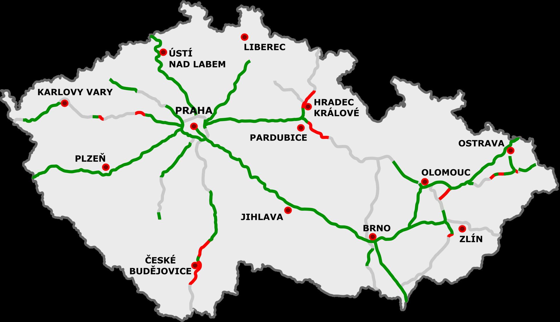 Highways in Czech Republic / Current map / Source: Wikipedia.