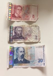 The Bulgarian currency, 5 lev, 2 lev and 20 lev.