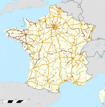 A map of highways in France
